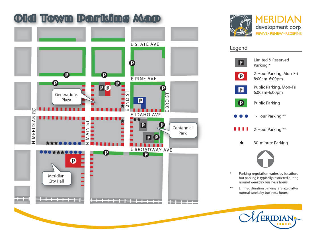 Downtown Meridian Parking Map